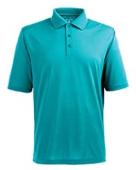 100% polyester Desert Dry Xtra-Lite DXL moisture management pique short sleeve polo with 3-button placket, flat knit collar & open sleeves. Antigua branding on right sleeve.