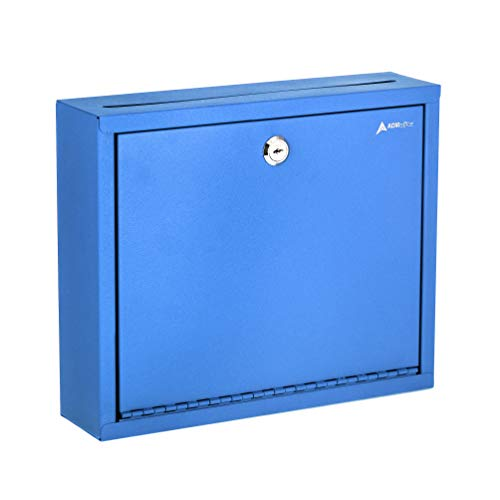 AdirOffice Multi Purpose, Mailbox, Drop Box, Suggestion Box, Wall Mountable, 3 x 10 x 12 - Blue