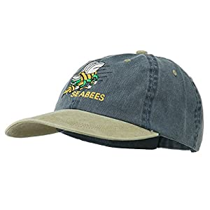 Navy Seabees Symbol Embroidered Dyed Two Tone Cap - Navy Khaki