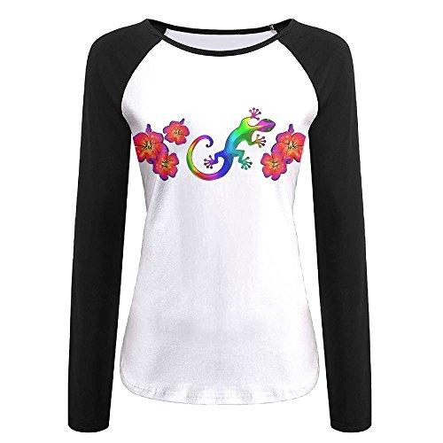PuSWEbasqa Gecko Women's Long Sleeve Raglan Tunics T-Shirt Blouse Tops ()