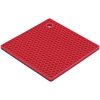 HIC Essentials Cherry Honeycomb Silicone Trivet, 7-Inch