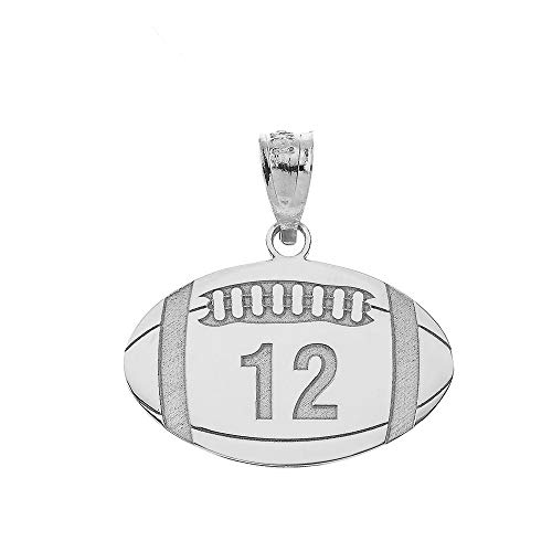 - Sports Charms 925 Sterling Silver Customized Football Pendant with Your Name and Number