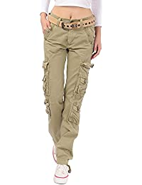 Women's Cotton Casual Straight Leg Cargo Pants with...
