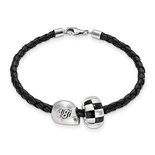 Bonyak Jewelry SS LogoArt NASCAR #48 Jimmie Johnson Glass Bead Helmet Leather Bracelet in Sterling Silver