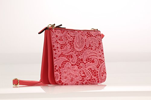 MoDA Compartments Magnetic with Mobile Separate Cross 3 Zippered Snaps Lace Trio w Coral Body apq1WBaU