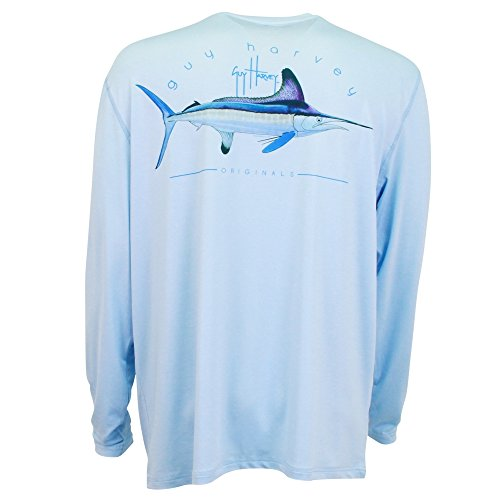 Price comparison product image GUY HARVEY Mens CLIPPER MENS L/S PRO UVX, LIGHT BLUE, XL