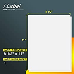 "iLable 8.5"" x 11"" Full Sheet Sticker Paper for Laser & Inkjet Printers[100 Sheets,100 Labels]"