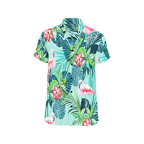 InterestPrint Men Casual Shirt Tropical Flamingo Birds and Jungle Flowers Casual Regular Fit Short Sleeve T-Shirt S