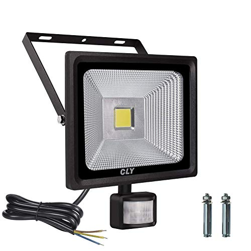 LTE 50W Motion Sensor Flood Lights Outdoor Security Floodlight Waterproof IP65 Cool White 6000K 3750 Lumens PIR Flood Lights by LTE LIGHTING EVEN