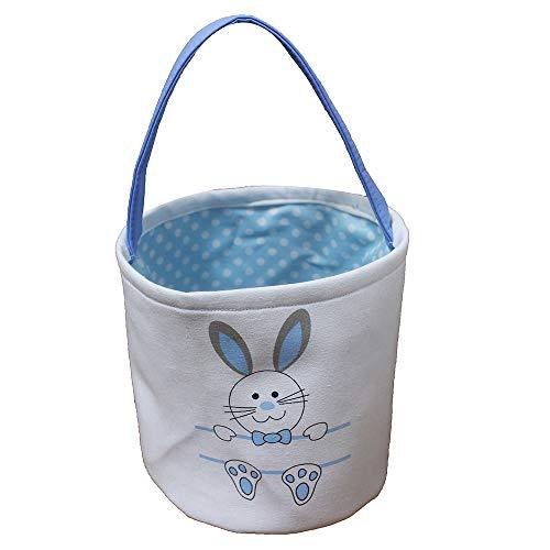 Easter Basket for Kids Bunny Bag for Easter (Print Rabbit-Blue)