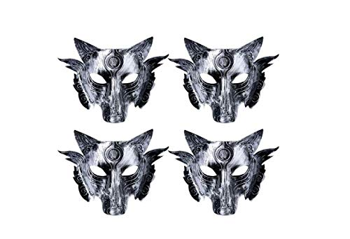 Mask 4Pcs Halloween Mask Vintage Animal Wolf Head Face Cover Props for Halloween Carnival Cosplay Costume Party Supplies (Silver),A,A