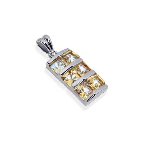 - Gem Avenue Rhodium Plated Sterling Silver 6 Princess Cut Pendant 32mm Citrine Color