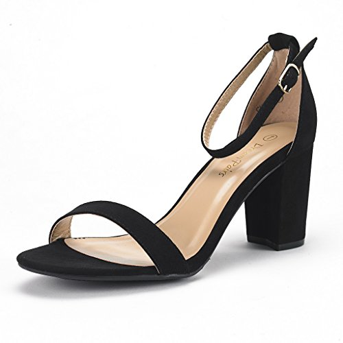 DREAM PAIRS Women's Chunk Black Suede Low Heel Pump Sandals - 7.5 M US ()