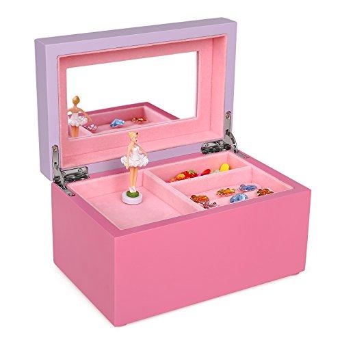 Stickers Gift Box (SONGMICS Girls Music Jewelry Box Pink Wooden Case with Ballerina and Mirror, Swan Lake Tune UJOW02P)