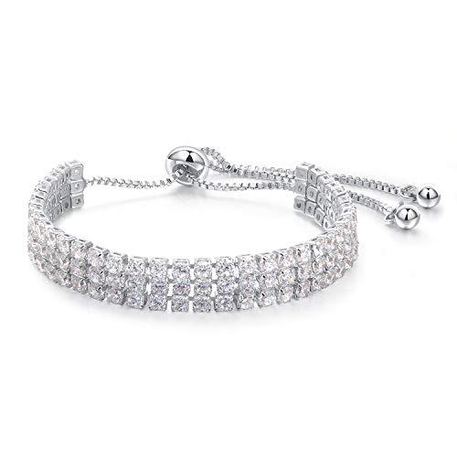 O-W White CZ Women Jewelry Bracelet,3 Rows Rhinestone Luxury Ladies Bracelets Accessories, Length Adjustable ()