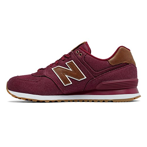 New Balance Mens Ml574 Canvas Pack Sneaker Rosso