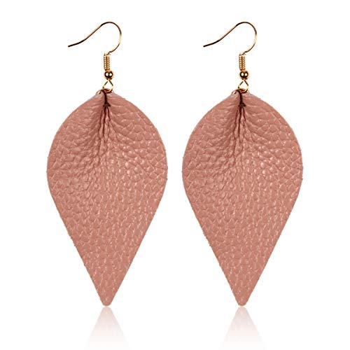 RIAH FASHION Vintage Bohemian Drop Earrings - Tribal Boho Dangles Wired Arrow Spear/Antique Feather/Leaf (Natural Leather Leaf - Pink Beige) - Curved Cut Out Pull