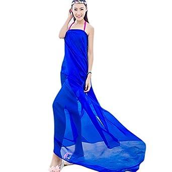UK_Stone Damen Übergroesse Einfarbig Sarong Pareo Strandtuch Wickeltuch  Bikini Sonnenschutz Decke Cover-up (Blau
