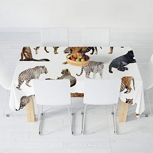 Polyester Tablecloth,Safari Decor,for Wedding Banquet Restaurant,40.2 X 30.3 Inch,Collection of Tigersand Other Big Wild Cats