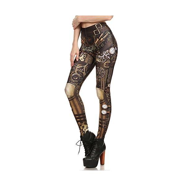 Women Steampunk Retro Leggings Comic Cosplay Punk Print Polyester Gothic Trousers Capris Pants S-4XL Plus Size 4