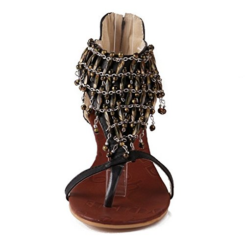 Heel Women's Black Tassels Shoes Chain Party Sandals Wedge LongFengMa qTdwET