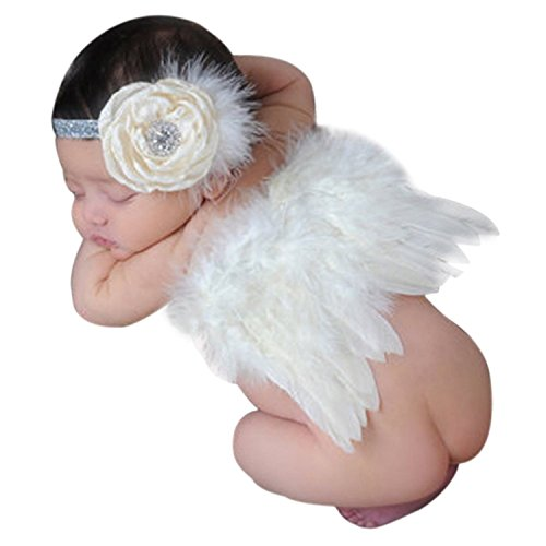 [LisliBaby Girl Headbands With Angel Feather Wing Costume Photo Prop Outfit 0-6M (Beige)] (Girl Angel Costumes)
