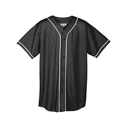 Augusta Sportswear Augusta Wicking Mesh Button Front Jersey with Braid Trim, Black/White, Medium