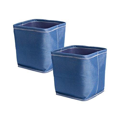 Blue Basket Chambray - DII Collapsible Polyester Storage Basket or Bins, Home Organizer Solution for Home, Office Desk, Shelf, Bedroom & Closet (Set of 2 Large Cubes - 13