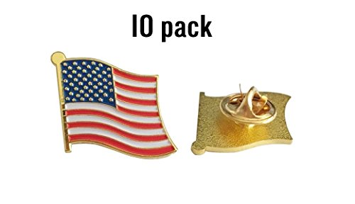 Exquisite 1 Inch American Flag Pin USA Flag Pin The Stars and Stripes - Made in The USA -Gold Tone -10 Pack