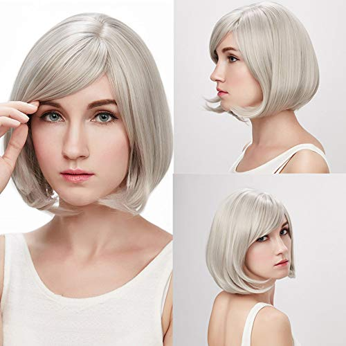 Clearance! Short Wigs,Women Cosplay Party Fashion Rose Net White Grey Synthetic Hair Hairpiece Costume Straight Wig (Grey) -