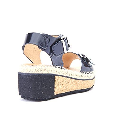 sandali donna con fibbie zeppa sughero 6 cm pelle colore nero