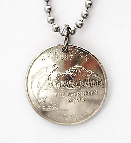 Washington State Domed Coin Necklace U.S. Commemorative Quarter Pendant 2007