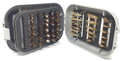 Fly Fishing Flies for Trout and Other Freshwater Fish - 48 Dry Flies and Waterproof Fly Box - 8 Patterns in 3 Sizes (2 of Each Size) Adams, Royal Coachman, ()