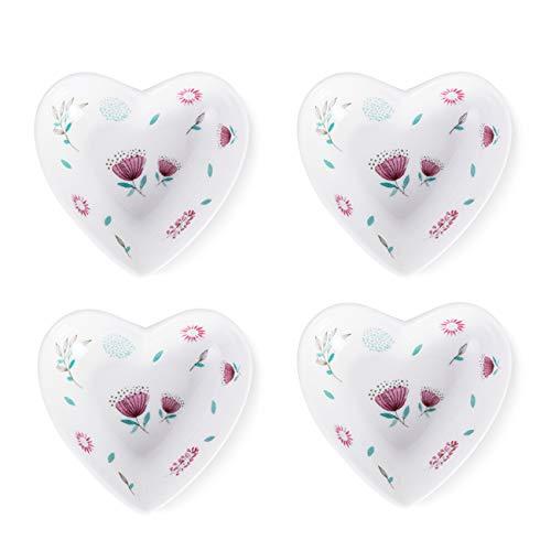 - SOCOSY Rose Pattern Heart Shaped Ceramic Seasoning Dishes/Sauce Dish/Tea Bag Holder/Appetizer Plates/Serving Dish (Set of 4)