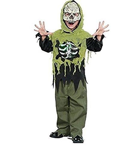 Light Up Skeleton Boy Costume (Costume Light Up Skeleton Boys Girls LARGE 10-12 Zombie White Walker Walking Dead)