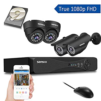SANSCO Pro CCTV Security Camera System with FHD 1080P DVR, 4 Cameras (All HD 1080p 2MP), 1TB Internal Hard Drive Disk 24/7 Or Motion Recording - All-in-One Wired Surveillance Cameras Kit from SANSCO