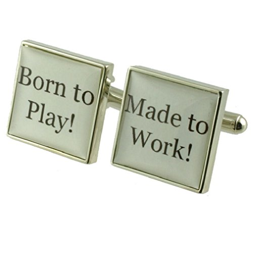 Cuff liens texte CufflinksPlayer Cufflinks ~ Born To Play Place Cufflinks Select Pouch Gift