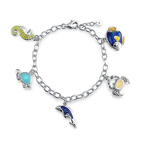 (Nautical Vacation Theme Dolphin Crab Turtle Seahorse Created Opal Charm Link Bracelet For Women 925 Sterling Silver)