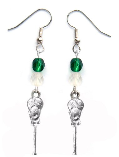 ''Lacrosse Stick & Ball'' Lacrosse Earrings (Team Colors Forest Green & White) by Edge Sports