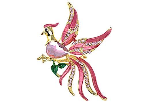 (Alilang Stunning Pink Beaded Flying Bird Crystal Phoenix Rhinestone Brooch Pin)
