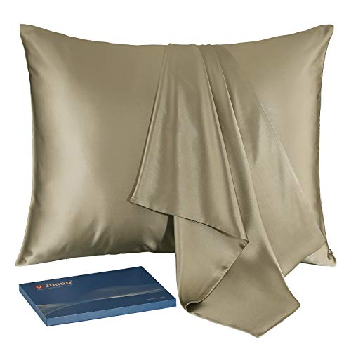 JJIMOO Natural Slip Silk Pillowcase,for Hair and Skin with Hidden Zipper,22 Momme,600 Thread Count 100% Mulberry Silk (Queen 20''×30'', Champagne, 1 (Best Pillowcases For Hairs)