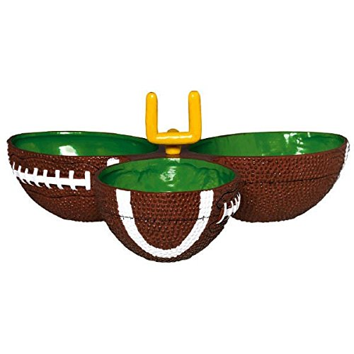 Amscan Football Frenzy Birthday Party Condiment Dish (1 Piece), Green/Brown, 8.75 x 8.75