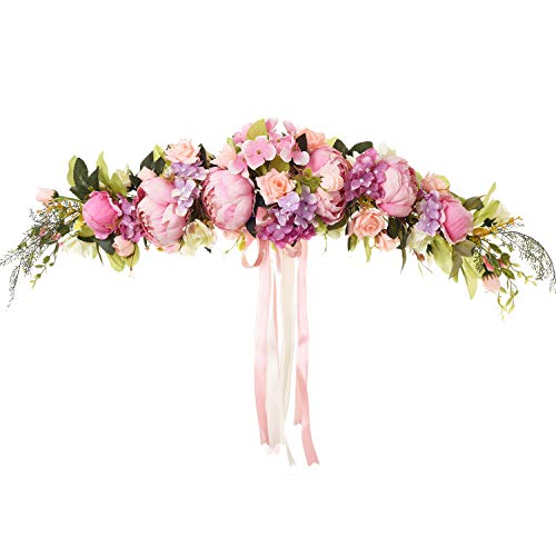 DearHouse Artificial Rose Flower Swag, 25 Inch Decorative Swag with Fake Roses, Green Leaves and Silk Ribbon for Home Room Garden Lintel Wedding Arch Front Door Wall - Inch 25 Flower