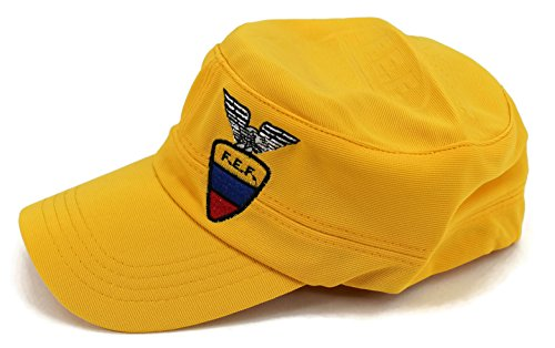 High End Hats World Soccer/Football Team Military Hat Collection Embroidered Flexfit Army Style Cap, Ecuador National Football Team, Yellow - Military Cap Collection