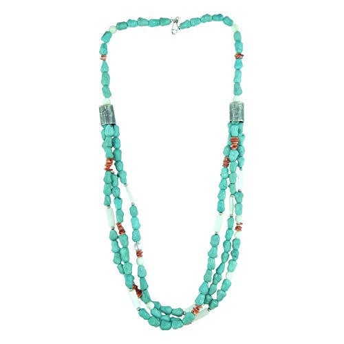 lace Turquoise Nuggets and MOP Tube Beads, Made in USA - Exclusive Southwestern Handmade Jewelry, 3 Strand, 7mm, 31