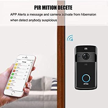 Video Doorbell Wireless Doorbell Camera IP5 Waterproof HD WiFi Security Camera Real-Time Video for iOS Android Phone Night Light Black