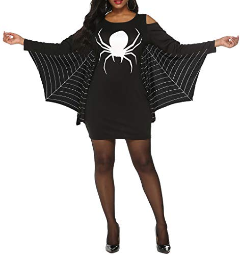 Spider Lady Costume Ideas (JomeDesign Womens Halloween Costumes Spiderweb Plus Size Jersey Tunic Cosplay Dress Black)