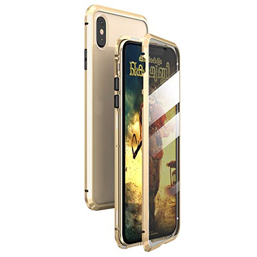 360° Full Body Case for iPhone Xs MAX Case,[Front and Back of Clear Touchable Strong HD Tempered Glass] with Built-in Screen Protector Magnetic Adsorption Metal Protection Cover Fit XS MAX 6.5