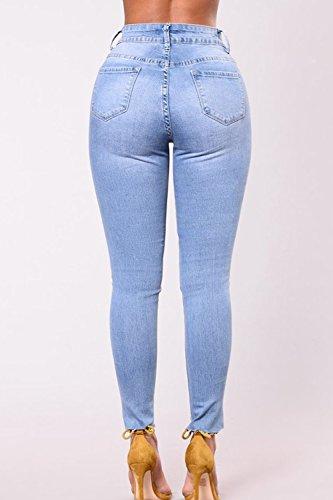 Attillati Le Hot E Strappato Jeans Donne Floreale Dimensioni Buco Solido Blue Ricamati EEF8qrw