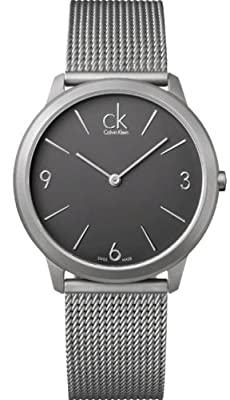 K3M51154 Calvin Klein Ck Minimal Mesh Mens Watch - Dark Gray Dial